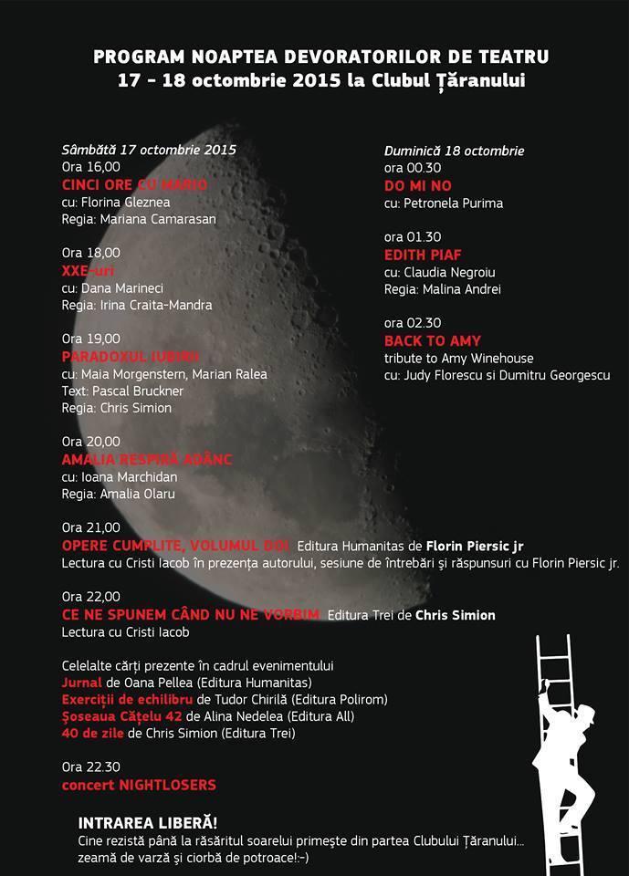 Program Noaptea Devoratorilor de Teatru